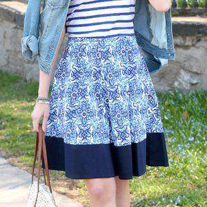 MILLY D.N. XL Pleated Blue Capri Print Skirt